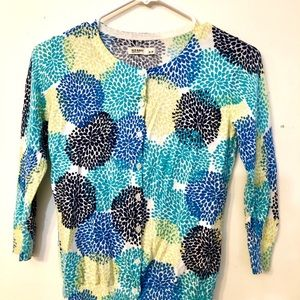 Blue and yellow floral thin cardigan